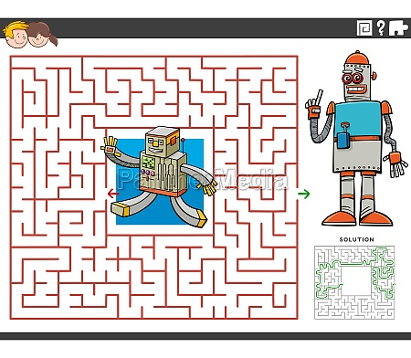 maze educational game with cartoon robots