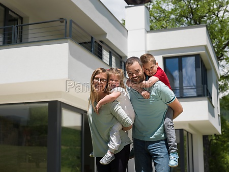 happy family with children in the