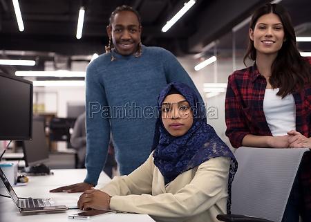 multiethnics team of software developers working