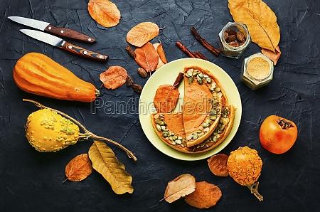 homemade autumn pumpkin pie flat lay