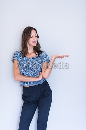 young woman presenting your product