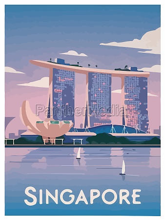 singapore travel retro asia illustration