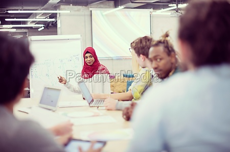muslim businesswoman giving presentations at office