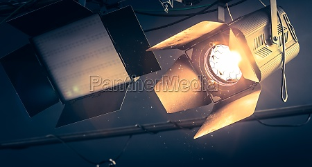 professional orange studio spotlight in a