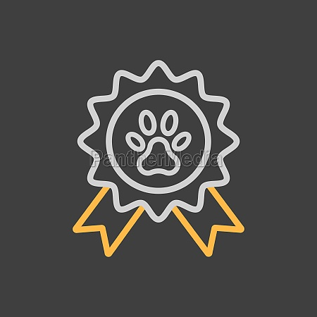 pets award rosette vector icon on