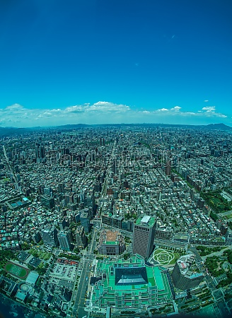 taipei cityscape and blue sky visible