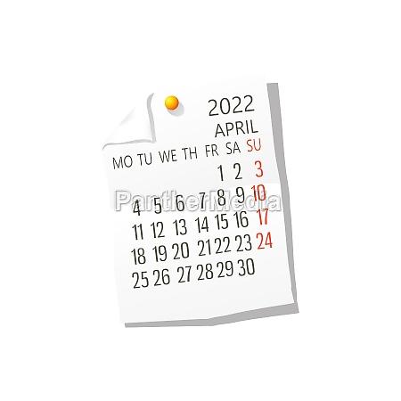 2022 april vector calendar