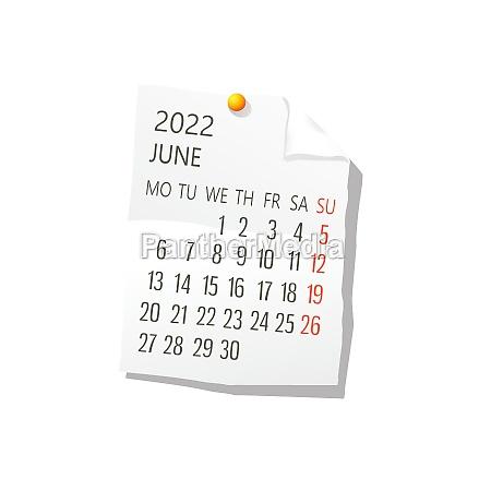 2022 june vector calendar