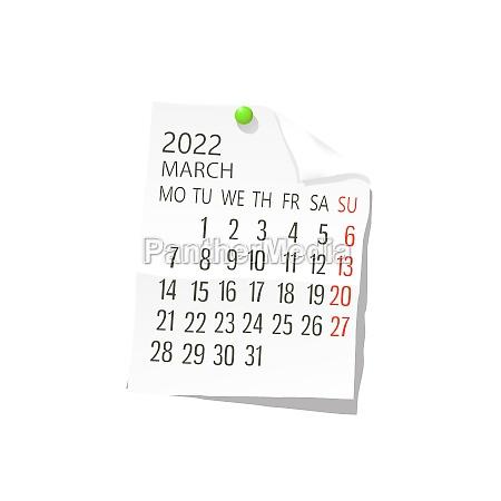 2022 march vector calendar