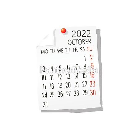 2022 october vector calendar