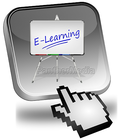 e learning button with cursor silver