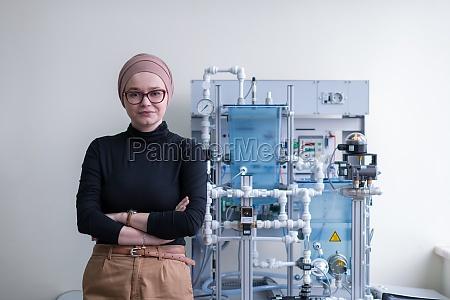 portrait of muslim female student in