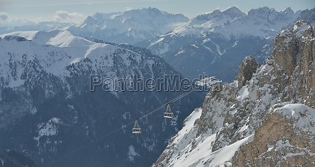 winter landscape with chairlift cabin