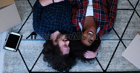 top view of attractive young multiethnic