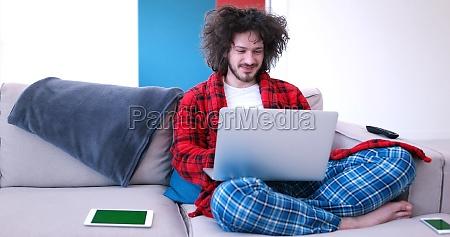man drinking coffee enjoying relaxing lifestyle