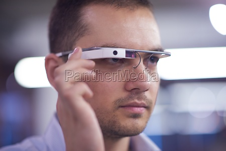 man using virtual reality gadget computer