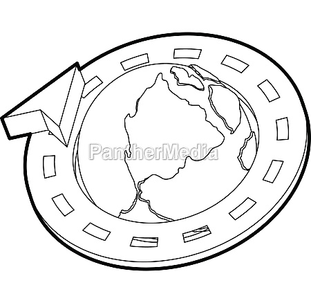road around earth globe icon outline