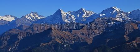 mountain range eiger monch and jungfrau