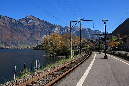 railway platform at lake walensee