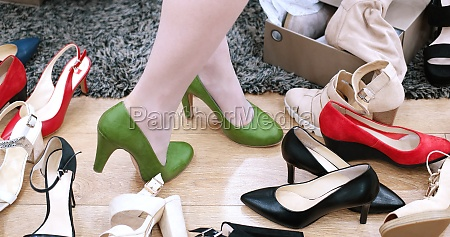 woman trying new shoes