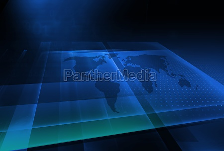 graphical 3d space with world map