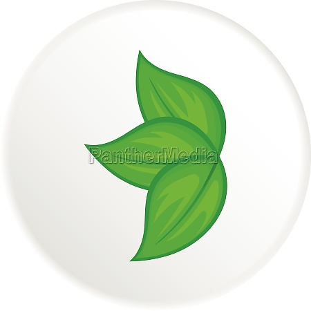 green leaves icon cartoon style