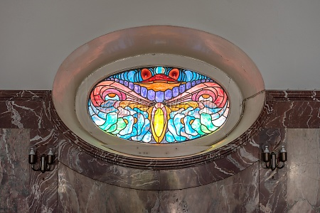 colored art nouveau window in the