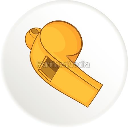 yellow sport whistle icon cartoon style