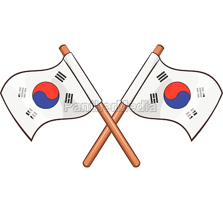 south korea flags icon cartoon style