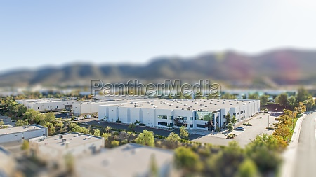 aerial view of commercial buildings with