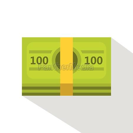 bundle of money icon flat style