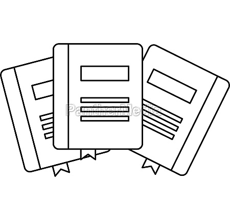 three books with bookmarks icon outline