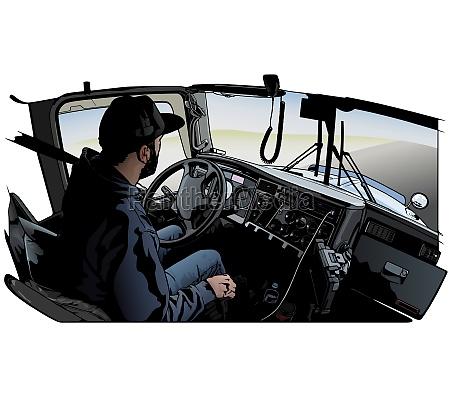 professional truck driver driving truck