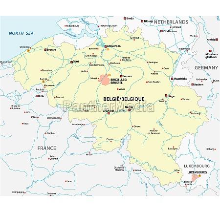 vector map of belgium with main