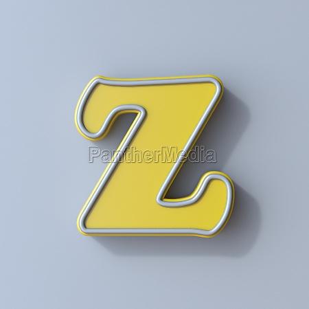 yellow cartoon font letter z 3d