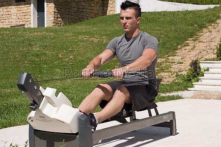 man doing morning exercises