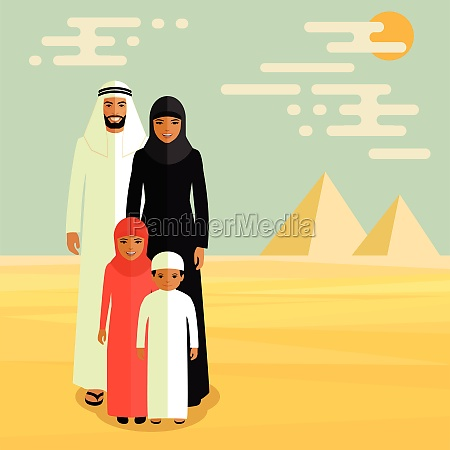 arab family muslim people