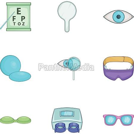 ophthalmology icons set cartoon style