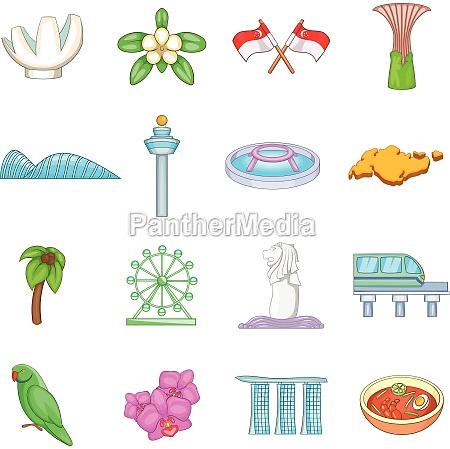 singapore travel icons set cartoon style