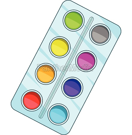 watercolor paints box icon cartoon style
