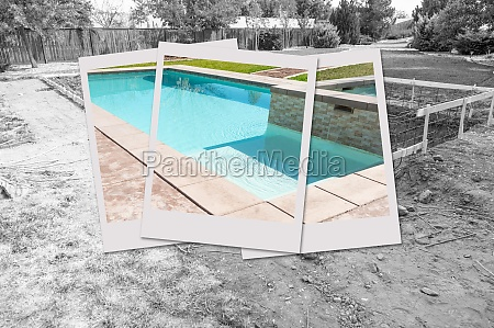 swimming pool construction site with picture