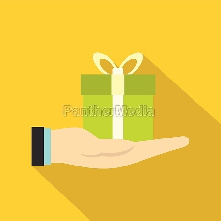 gift box in hand icon flat