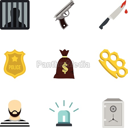 illegal action icons set flat style