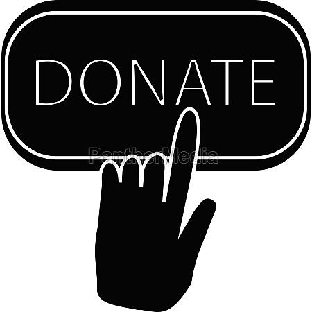 hand presses button to donate icon