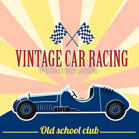 racing retro car concept flat style