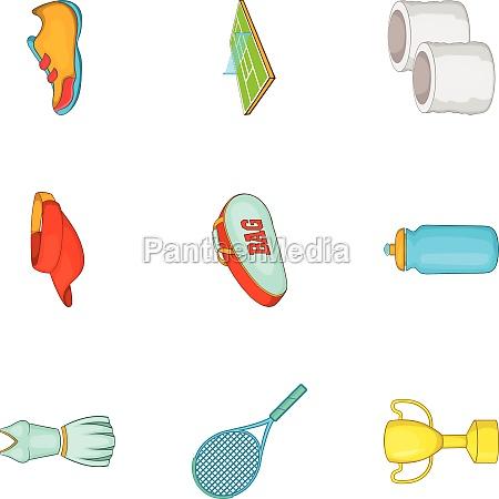 big tennis icons set cartoon style