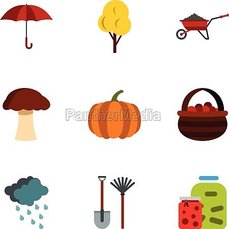 season of year autumn icons set