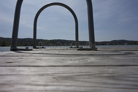 jetty at the lake in summer