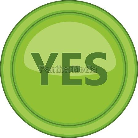 yes green circle button icon cartoon