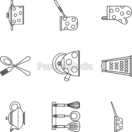 kitchen utensils icons set outline style